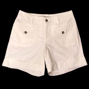 Dockers White Shorts Faux Cuff Cotton Spandex Sz 4
